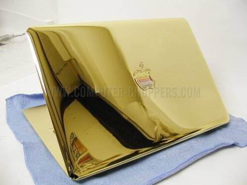 Gold Macbook Air with Bejeweled Rainbow Apple
